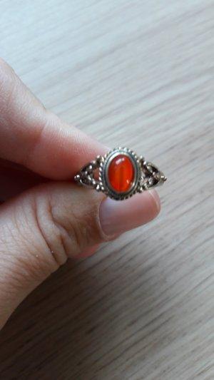 Modeschmuck Ring goldfarben mit orangenem Schmuckstein