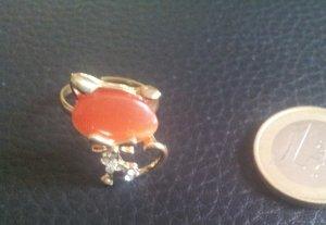 Modeschmuck Ring Katze Halbedelstein verstellbar gold