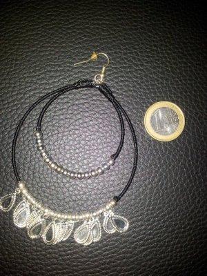 Modeschmuck Single Ohrring schwarz silber NEU