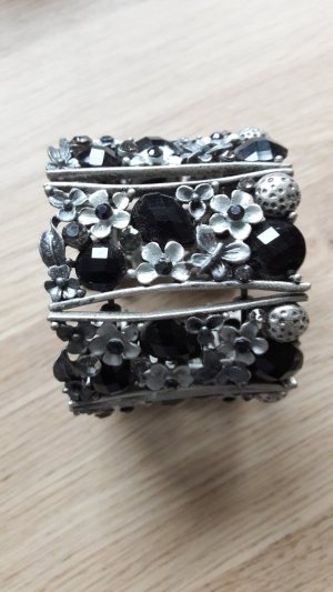 Modeschmuck Statement Armspange silber schwarz Blumenmuster