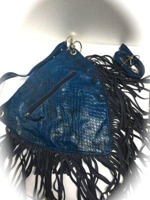 Modetasche mit Franzen Blau