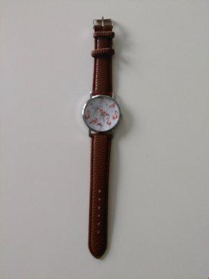 Modeuhr Uhr Flamingo Braun