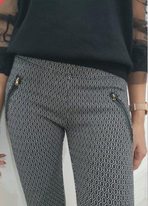 Pantalon strech blanc-noir
