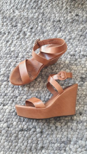 René Lezard Wedge Sandals cognac-coloured leather