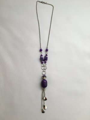 Modische lange Halskette mit lila Steinen, wie NEU