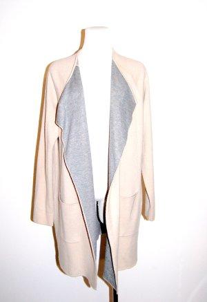 modische lange Strickjacke - Cardigan beige-grau von Comma - Gr. 38