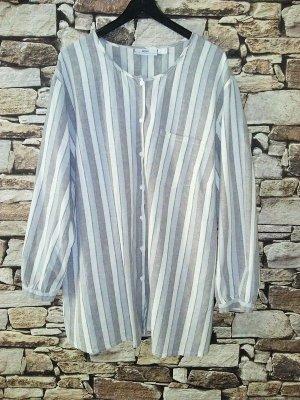 b.p.c. Bonprix Collection Linen Blouse silver-colored-white mixture fibre