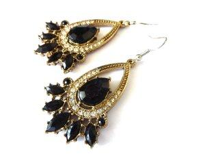 modische ovale Kristall Blüten Ohrringe Blüten Schmuck golden vintage Schmuck