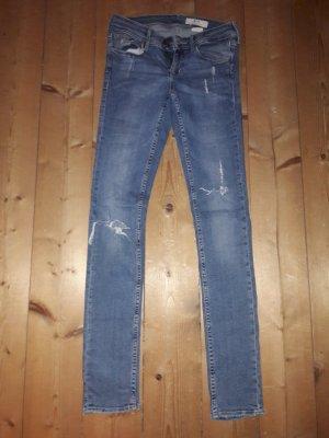 H&M Pantalone a vita bassa blu fiordaliso Fibra tessile