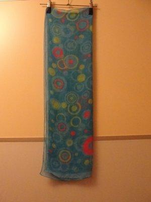 Modischer langer Schal, blau mit bunten Klecksen