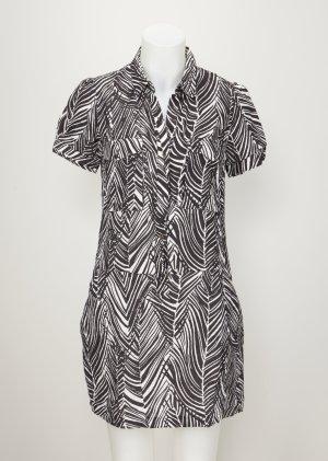 Zara Robe noir-blanc lin