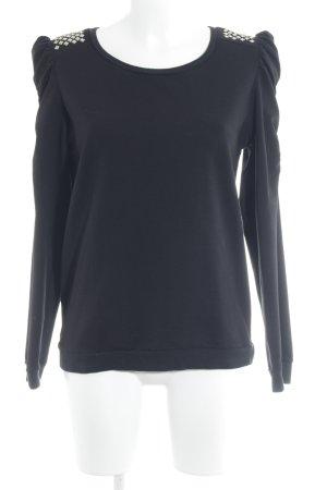 Modström Sweatshirt schwarz-silberfarben grafisches Muster extravaganter Stil