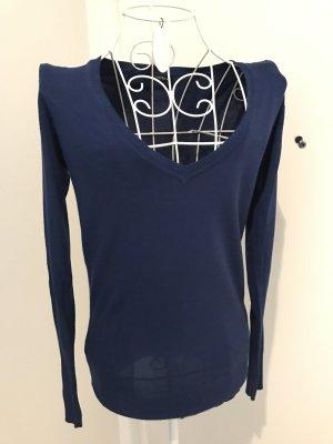 Mötivi Pullover V-Ausschnitt, Blau mit Glitzer, S, neu