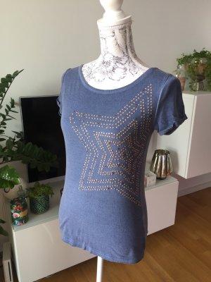 Mötivi Shirt mit Steinchen Stern Gr S stahlblau gold