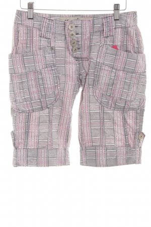 Mogul 3/4 Length Trousers light grey-pink check pattern casual look