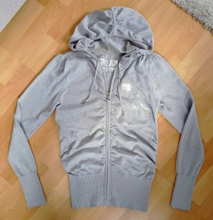 Mogul Hoody Cardigan Jacket mit Kapuze in Silber S (M) Strickjäckchen