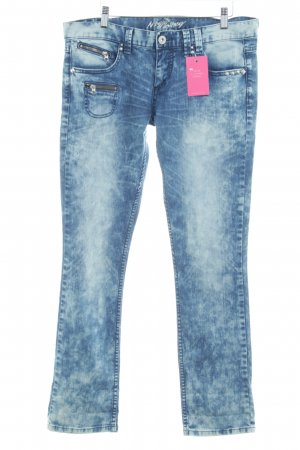 Mogul Straight-Leg Jeans stahlblau-wollweiß Street-Fashion-Look