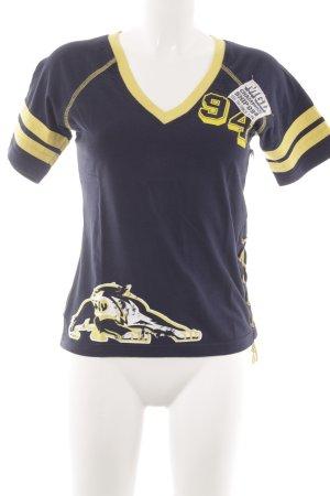Mogul T-Shirt dunkelblau-dunkelgelb Motivdruck sportlicher Stil