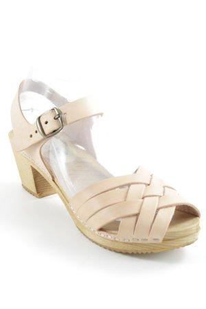 Moheda Riemchen-Sandaletten beige-nude Holz-Optik