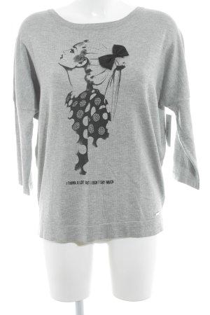 Mohito Sweatshirt grau-schwarz Motivdruck Casual-Look