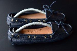 Mokassin blau handgearbeitet aus Italien