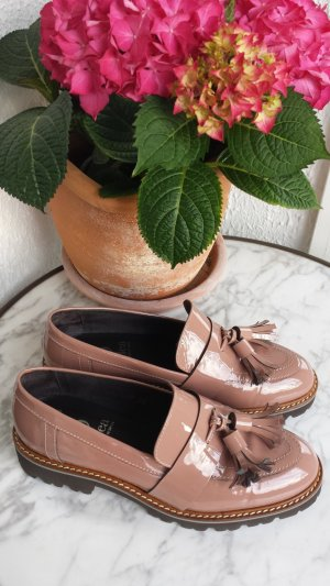 Mokassin Slipper Loafer mit Tassel in Lack rose Gr. 36 fast NEU