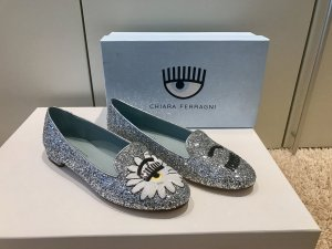 Chiara Ferragni Moccasins silver-colored leather