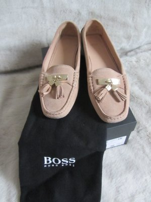 Hugo Boss Mocassins beige clair daim