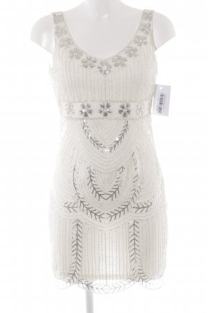 Molly bracken Abendkleid weiß-silberfarben florales Muster extravaganter Stil