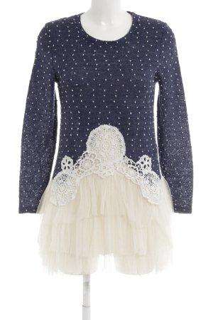 Molly bracken Langarmkleid wollweiß-blau Punktemuster extravaganter Stil