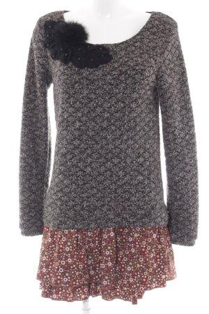 Molly bracken Pulloverkleid grau-braun Blumenmuster extravaganter Stil