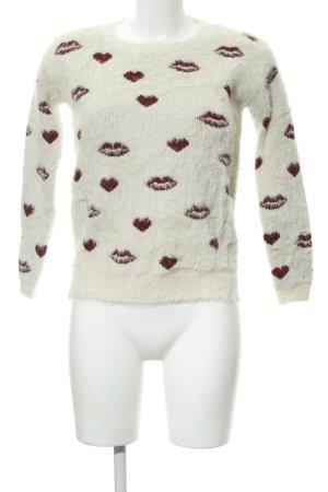 Molly bracken Rundhalspullover bordeauxrot-creme Motivdruck Street-Fashion-Look
