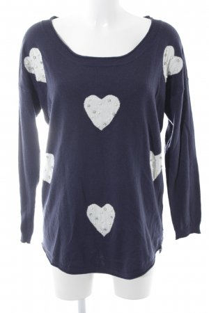 Molly bracken Strickpullover weiß-dunkelblau Motivdruck Romantik-Look