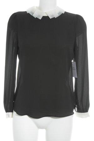 Molly bracken Blusa trasparente nero-bianco elegante