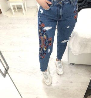 Mom Jeans High waist mit Blumenprint