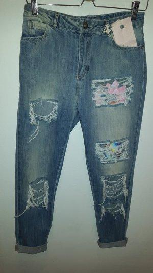 Mom - Jeans in mittlerer Jana Stonewash mit Zerrissenheit (Maryley) Gr.S