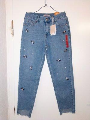 Mom Jeans mit Glitzersteinen