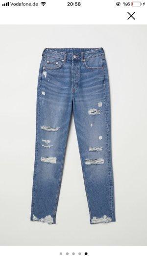 H&M Pantalon taille haute bleu-bleuet
