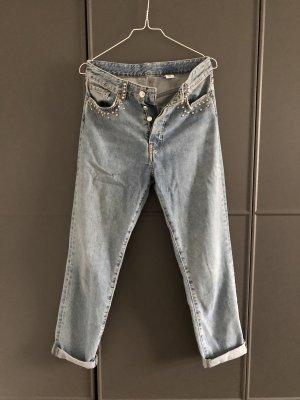 H&M Jeans carotte argenté-bleu azur