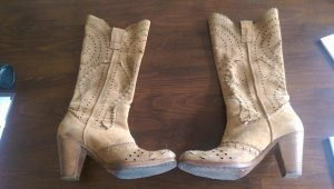 MoMa Sommer Wildleder Stiefel im Gipsy Style - beige in 39