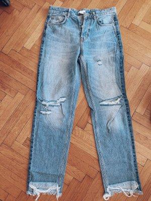 H&M Pantalon taille haute bleu clair