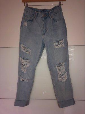 H&M Divided Hoge taille jeans lichtblauw Katoen