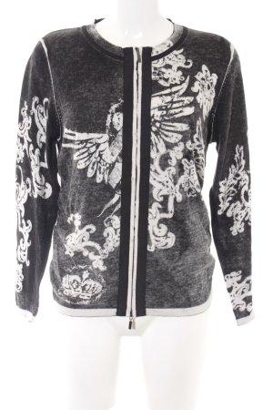 Monari Cardigan schwarz-weiß Ornamentenmuster Casual-Look
