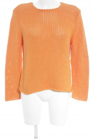Monari Grobstrickpullover orange Zopfmuster Casual-Look