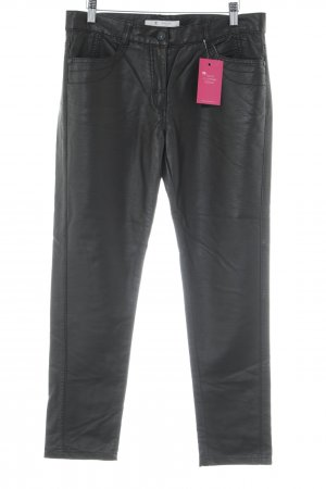 Monari Pantalon en cuir brun foncé style décontracté