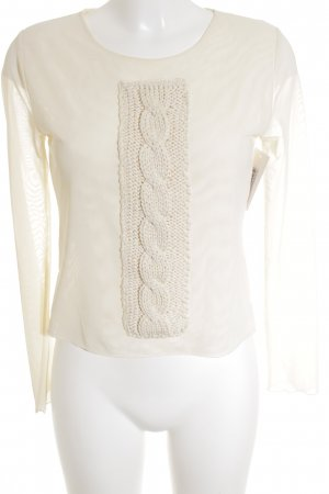 Monari Mesh Shirt cream cable stitch transparent look