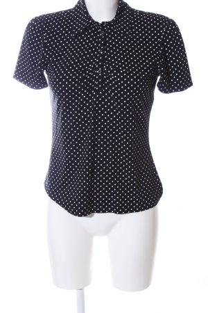 Monari Polo shirt zwart-wit gestippeld patroon zakelijke stijl