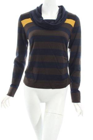 Monari Pullover graubraun-dunkelblau Streifenmuster Street-Fashion-Look