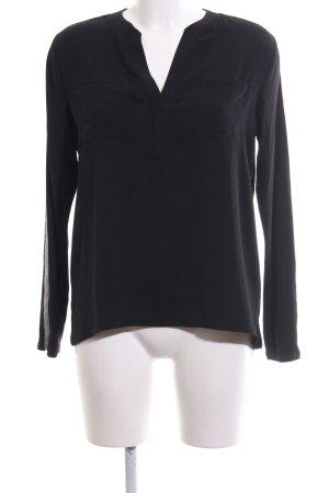 Monari Slip-over blouse zwart-zilver casual uitstraling
