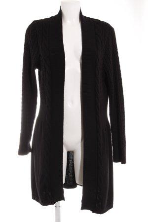 Monari Strickjacke schwarz Zopfmuster Casual-Look